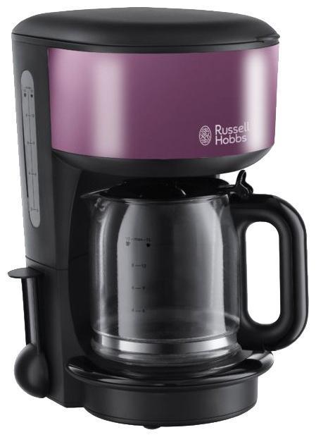 Russell Hobbs 20133-56 Colours Purple Passion кофеварка20133-56Если вы истинный ценитель кофе, то вы обязательно полюбите эту кофеварку, выполненную в чувственном фиолетовом цвете. Это не просто кофеварка, это часть стиля вашей кухни. Кофеварка является частью коллекции для завтрака Colours, обладает улучшенной технологией экстракции кофе и достигает оптимальной температуры заваривания на 50% быстрее*, для того, чтобы вы в любой момент смогли насладиться чашкой идеального напитка. Кофеварка Purple Passion необычайно компактная и стильная. Стеклянный кувшин емкостью 1.25 литра и мерная ложечка помогут вам с точностью приготовить необходимое количество чашек кофе. Предпочитаете ли вы крепкий или умеренный вкус, эта улучшенная версия кофеварки приготовит напиток, отвечающий именно вашему вкусу.