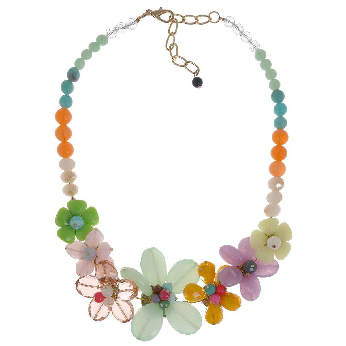 Колье Taya, цвет: зеленый, розовый, фиолетовый, желтый. T-B-8589T-B-8589-NECK-ML.GREENЯркое летнее колье нравится всем женщинам без исключения. За счет продуманно выполненного крепления цветов, колье не зацепится за любимую блузку и его можно носить без опаски, как и все изделия TAYA.