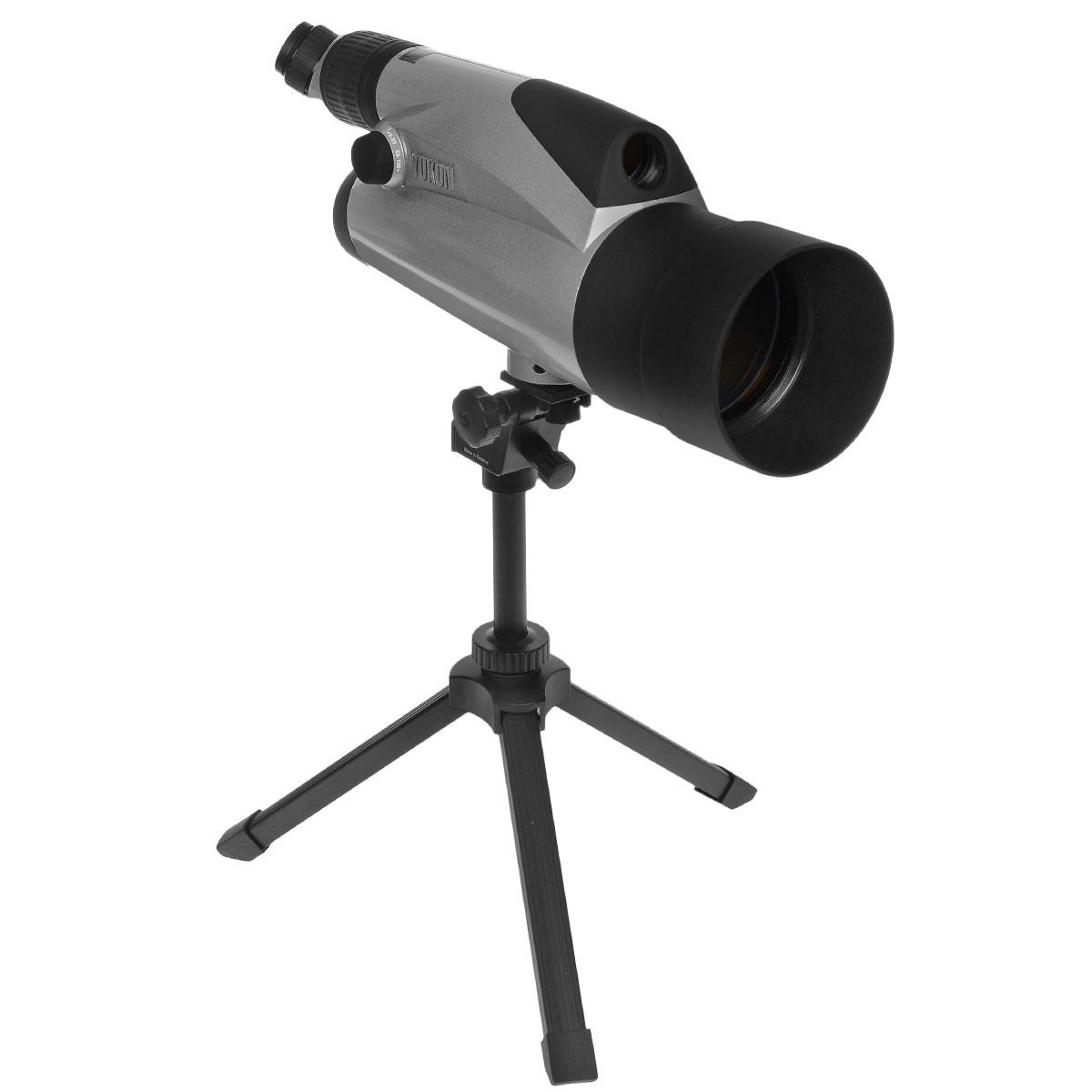 """Yukon 100x подзорная труба со штативом, Silver21031SKЗрительная труба Yukon 100х хороша для целей стационарного наблюдения любителями животного мира и природы на открытой местности, а также для наблюдения, в том числе и профессионального, в городских условиях, и для астрономических целей. Труба Yukon 100х имеет совершенно новые уникальные оптические характеристики. В ней впервые достигнута возможность плавного изменения кратности от 6х до 100х. Переключение с дополнительного канала на основной и наоборот осуществляется простым поворотом рукоятки. Зрительная труба может устанавливаться на штативах 1/4"""" и 3/8"""". Важной особенностью является возможность фотографирования через зрительную трубу при помощи фотоадаптеров. Специальная видеонасадка (в комплект не входит) поможет вывести изображение на экран монитора, при необходимости - сделать видеозапись, и обеспечит Вам комфорт при длительных наблюдениях. Все эти функции позволяют применять зрительную трубу во многих сферах любительской и профессиональной..."""
