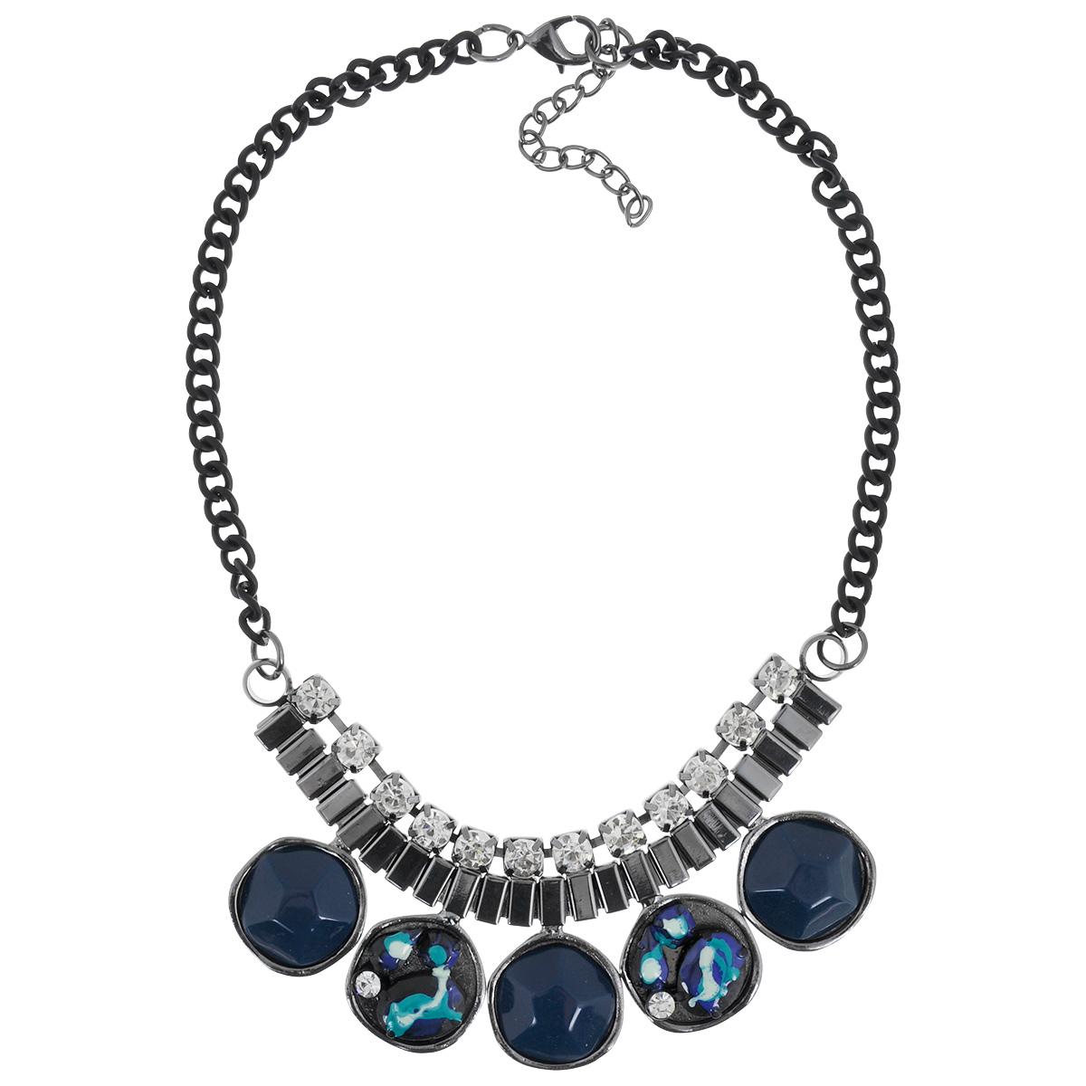 Колье Taya, цвет: черный, синий. T-B-7558T-B-7558-NECK-BK.BLUEКолье Taya, выполненное из гипоаллергенного сплава на основе латуни не оставит равнодушной ни одну любительницу изысканных и необычных украшений. Представляет собой одноярусные бусы, декорированные стразами, пластиком синего цвета и металлом. Колье имеет надежную застежку-карабин с регулирующей длину цепочкой. Такое колье позволит вам с легкостью воплотить самую смелую фантазию и создать собственный, неповторимый образ.