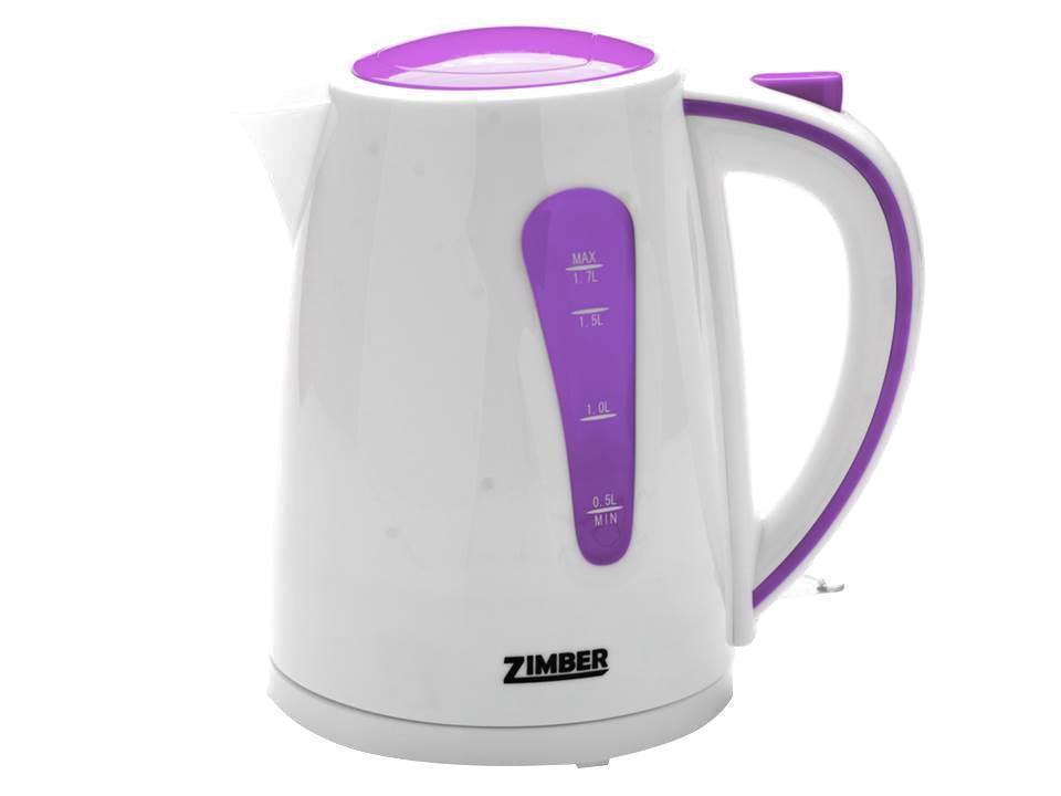 Zimber ZM-10843 электрический чайникZM-10843Быстро вскипятить воду или поддерживать ее горячей в течение долгого времени поможет чайник Zimber. На рынке бытовой техники этот прибор пользуется неизменной популярностью благодаря высокому качеству, безопасности и удобству в использовании. Чайник оснащен скрытым нагревательным элементом, что очень удобно – он более долговечен, чем спираль, и не подвержен образованию накипи. Для безопасного использования в чайниках Zimber предусмотрены функции автоматического отключения при отсутствии воды или открытии крышки, а также встроенная защита от перегрева. Яркие цвета несомненно порадуют и внесут краски в Вашу кухню!