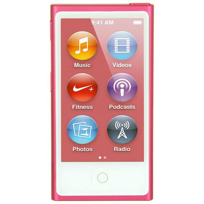 Apple iPod nano 16 GB (7 Gen), Pink MP3-плеерMKMV2RU/AApple iPod nano 16 GB (7 Gen) - самый тонкий iPod. Его толщина всего 5,4 мм, а размер сравним с размером кредитной карты. 2,5-дюймовый дисплей Multi-Touch почти в два раза больше дисплея предыдущего iPod nano, так что на экране будет еще больше музыки, фотографий и видео. Кнопки позволяют легко управлять воспроизведением и громкостью. Новый корпус из анодированного алюминия выглядит утонченно и элегантно. И, конечно, iPod nano неизменно радует разнообразием своих цветов - ярких и абсолютно неотразимых. Задаем ритм: Просто прикоснитесь, чтобы включить вашу любимую песню. Или целый альбом. Или все композиции одного исполнителя. Вы можете просматривать медиатеку по жанрам или композиторам. Полистайте всю коллекцию музыки - обложки альбомов на увеличенном экране выглядят просто великолепно. Или просто встряхните iPod nano - и он перейдет к случайной песне из вашей медиатеки. Видео. Маленький большой экран: Теперь вы можете смотреть...