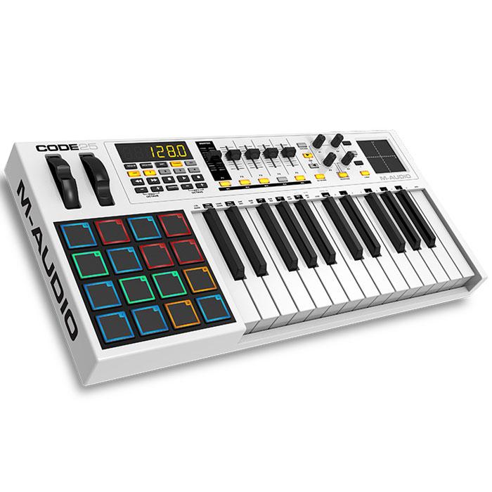 M-Audio Code 25 midi-клавиатураMCI53474Midi-контроллер M-Audio Code 25, выполненный в дизайнерском стиле «Mondrian-esque», поражающий воображение. Code контроллеры оборудованы всем необходимым для создания самого серьезного музыкального творения. Обширные параметры назначаемых регуляторов, банк фейдеров, ручки, кнопки, пэды и колеса модуляции и тона уже знакомы нашему взору, а новое в линейке контроллеров это X/Y Touchpad, который дает дополнительное и прямое взаимодействие с параметрами плагинов эффектов и инструментов через X/Y ось. Плюс клавиатура может быть разделена на 4 назначаемые зоны для максимальной гибкости и функциональности. Почти каждое DAW использует сочетание клавиш для выполнения общих функций (добавление треков, вырезание, вставка и т. д). теперь с поддержкой ASCII/HID команды сочетания клавиш можно сопоставить часто используемые прямо в сам контроллер, упорядочив рабочий процесс и сделав его более быстрым и эффективным. Code также поддерживает Mackie Control/HUI...