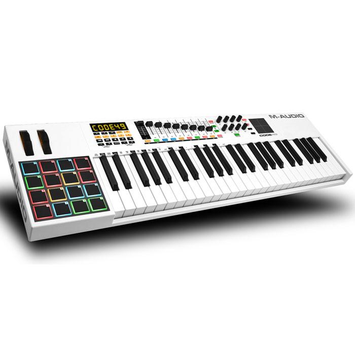 M-Audio Code 49 midi-клавиатураMCI53475Midi-контроллер M-Audio Code 49, выполненный в дизайнерском стиле Mondrian-esque, поражающий воображение. Code контроллеры оборудованы всем необходимым для создания самого серьезного музыкального творения. Обширные параметры назначаемых регуляторов, банк фейдеров, ручки, кнопки, пэды и колеса модуляции и тона уже знакомы нашему взору, а новое в линейке контроллеров это X/Y Touchpad, который дает дополнительное и прямое взаимодействие с параметрами плагинов эффектов и инструментов через X/Y ось. Плюс клавиатура может быть разделена на 4 назначаемые зоны для максимальной гибкости и функциональности. Почти каждое DAW использует сочетание клавиш для выполнения общих функций (добавление треков, вырезание, вставка и т. д). теперь с поддержкой ASCII/HID команды сочетания клавиш можно сопоставить часто используемые прямо в сам контроллер, упорядочив рабочий процесс и сделав его более быстрым и эффективным. Code также поддерживает Mackie Control/HUI...