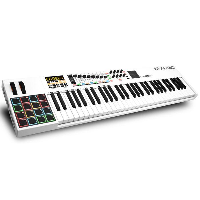M-Audio Code 61 midi-клавиатураMCI53476Midi-контроллер M-Audio CODE 61, выполненный в дизайнерском стиле Mondrian-esque, поражающий воображение. Code контроллеры оборудованы всем необходимым для создания самого серьезного музыкального творения. Обширные параметры назначаемых регуляторов, банк фейдеров, ручки, кнопки, пэды и колеса модуляции и тона уже знакомы нашему взору, а новое в линейке контроллеров это X/Y Touchpad, который дает дополнительное и прямое взаимодействие с параметрами плагинов эффектов и инструментов через X/Y ось. Плюс клавиатура может быть разделена на 4 назначаемые зоны для максимальной гибкости и функциональности. Почти каждое DAW использует сочетание клавиш для выполнения общих функций (добавление треков, вырезание, вставка и т. д). теперь с поддержкой ASCII/HID команды сочетания клавиш можно сопоставить часто используемые прямо в сам контроллер, упорядочив рабочий процесс и сделав его более быстрым и эффективным. Code также поддерживает Mackie Control/HUI...