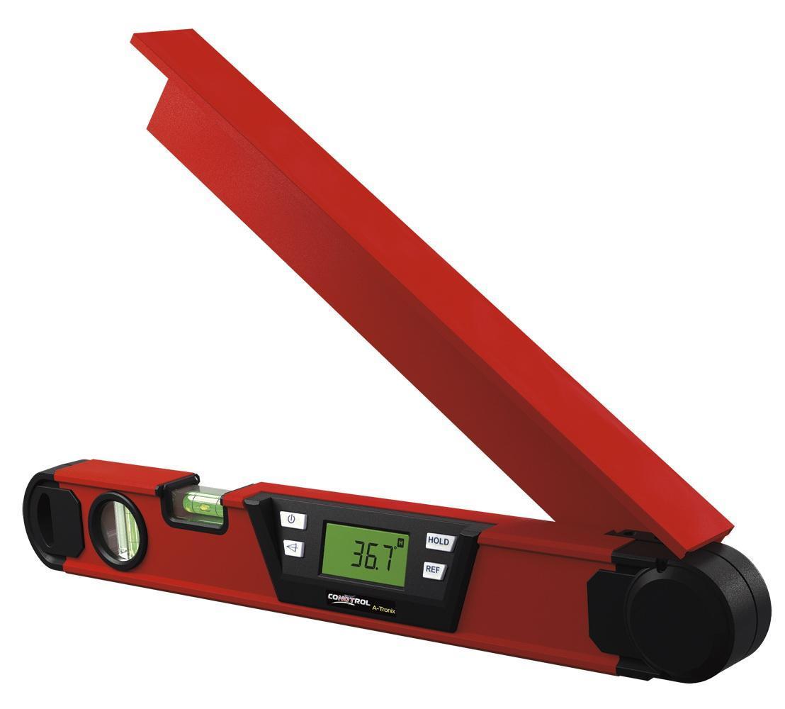 Лазерный угломер CONDTROL A-Tronix1-5-015Новый электронный угломер A-Tronix предназначен для производства работ по гипсокартону, плотницких, столярных и других общих строительных работ. Угломер оснащен двумя высококонтрастными дисплеями с подсветкой, функциями биссектрисы (деления измеряемого угла пополам), фиксирования величины измеряемого угла на дисплеях и возможностью откладывать угол от 0° из любого положения подвижной планки угломера. Для удобства работы предусмотрена функция инверсии показаний на дисплее. С помощью электронного угломера A-Tronix можно успешно производить монтаж фермовых элементов, стропил, каркасов, лестничных пролетов и других конструкций с определенным углом к базовой поверхности. A-Tronix позволяет осуществлять контроль монтажа строительных элементов, установки строительного оборудования и различных конструкций.