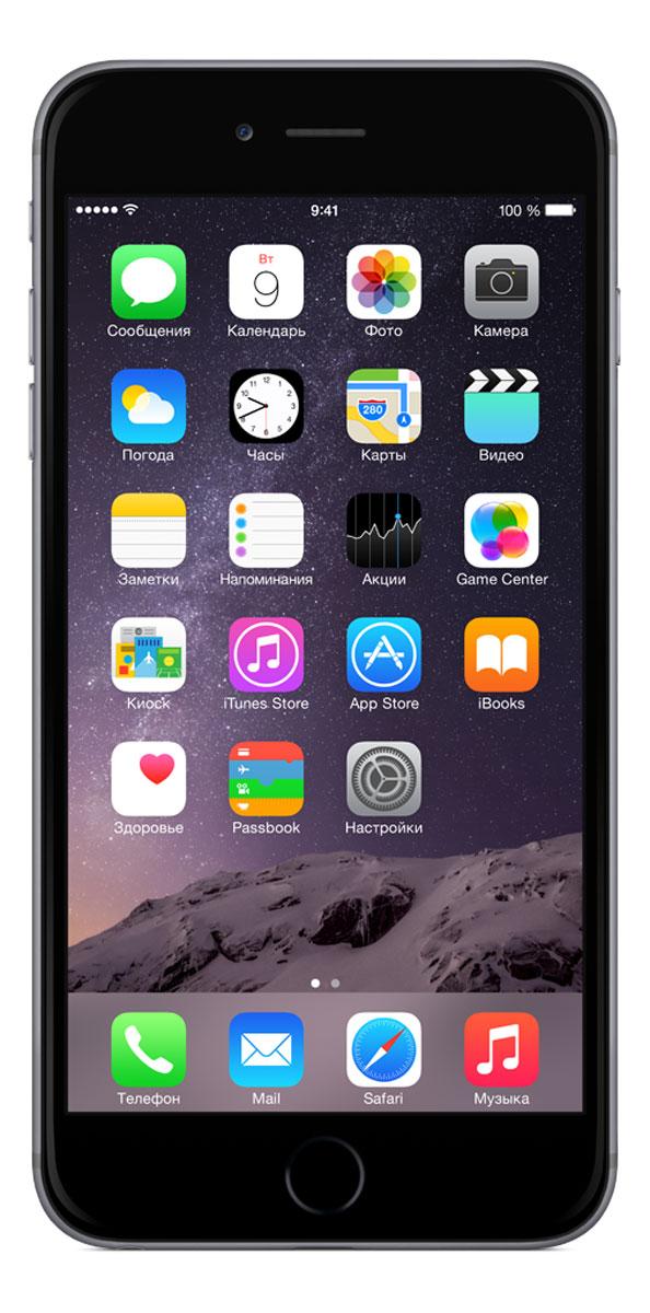 Apple iPhone 6 Plus 64GB, Space GrayMGAH2RU/AiPhone 6 Plus не просто больше. Он лучше во всех отношениях. Больше, но при этом значительно тоньше. Мощнее, но при этом исключительно экономичный. Его гладкая металлическая поверхность плавно переходит в стекло нового HD-дисплея Retina, образуя цельный, законченный дизайн. Его аппаратная часть идеально работает с программным обеспечением. Это новое поколение iPhone, улучшенное во всём. Корпус смартфона изготовлен из красивого анодированного алюминия, нержавеющей стали и стекла. Взяв iPhone 6 Plus в руку, вы сразу почувствуете, насколько удобно его держать. Стекло экрана закругляется по бокам и плавно переходит в корпус из анодированного алюминия, образуя исключительный в своей простоте дизайн. Нет никаких видимых границ. Никаких зазоров. Это безупречное сопряжение стекла и металла, которое кажется единой непрерывной поверхностью. Более плавные жесты смахивания в iOS становятся органичным продолжением цельной формы iPhone, что позволяет легко управлять им...