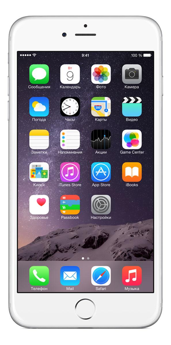 Apple iPhone 6 Plus 64GB, SilverMGAJ2RU/AiPhone 6 Plus не просто больше. Он лучше во всех отношениях. Больше, но при этом значительно тоньше. Мощнее, но при этом исключительно экономичный. Его гладкая металлическая поверхность плавно переходит в стекло нового HD-дисплея Retina, образуя цельный, законченный дизайн. Его аппаратная часть идеально работает с программным обеспечением. Это новое поколение iPhone, улучшенное во всём. Корпус смартфона изготовлен из красивого анодированного алюминия, нержавеющей стали и стекла. Взяв iPhone 6 Plus в руку, вы сразу почувствуете, насколько удобно его держать. Стекло экрана закругляется по бокам и плавно переходит в корпус из анодированного алюминия, образуя исключительный в своей простоте дизайн. Нет никаких видимых границ. Никаких зазоров. Это безупречное сопряжение стекла и металла, которое кажется единой непрерывной поверхностью. Более плавные жесты смахивания в iOS становятся органичным продолжением цельной формы iPhone, что позволяет легко управлять им...
