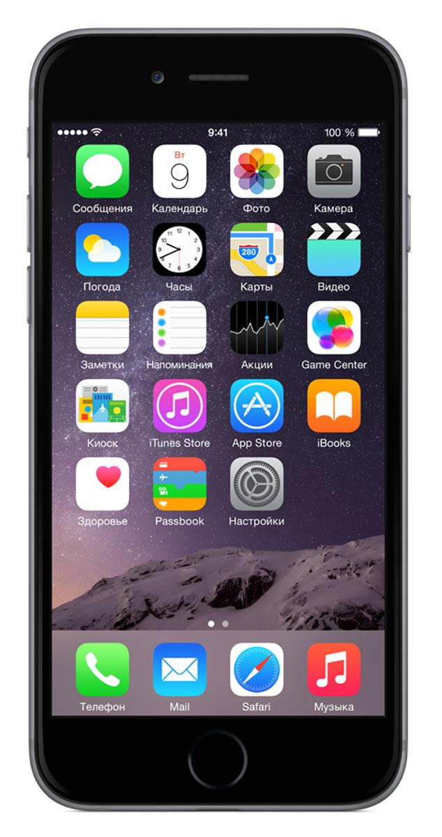 Apple iPhone 6 64GB, Space GrayMG4F2RU/AiPhone 6 не просто больше. Он лучше во всех отношениях. Больше, но при этом значительно тоньше. Мощнее, но при этом исключительно экономичный. Его гладкая металлическая поверхность плавно переходит в стекло нового HD-дисплея Retina, образуя цельный, законченный дизайн. Его аппаратная часть идеально работает с программным обеспечением. Это новое поколение iPhone, улучшенное во всём. Корпус смартфона изготовлен из красивого анодированного алюминия, нержавеющей стали и стекла. Взяв iPhone 6 в руку, вы сразу почувствуете, насколько удобно его держать. Стекло экрана закругляется по бокам и плавно переходит в корпус из анодированного алюминия, образуя исключительный в своей простоте дизайн. Нет никаких видимых границ. Никаких зазоров. Это безупречное сопряжение стекла и металла, которое кажется единой непрерывной поверхностью. Более плавные жесты смахивания в iOS становятся органичным продолжением цельной формы iPhone, что позволяет легко управлять им одной рукой....