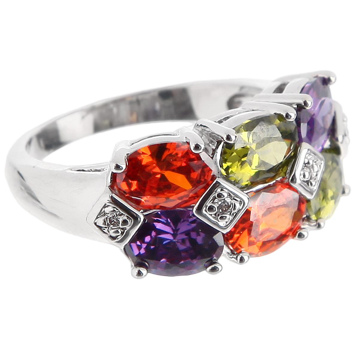 Кольцо Taya, цвет: серебристый, мультиколор. T-B-4775T-B-4775-RING-DARK.MULTIВеликолепное кольцо Taya выполнено из гипоаллергенного ювелирного сплава на основе латуни. Кольцо дополнено крупными сверкающими цветными камнями и мелкими прозрачными кристаллами. Идеальная огранка камня заставляет его сверкать при любом освещении. Кольцо подчеркнет вашу яркую индивидуальность и поможет создать неповторимый образ.