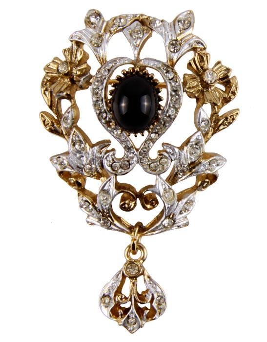 """Брошь """"Каменный цветок"""" от Sphinx. Ювелирный сплав, кристаллы, стеклянный кабошон. Sphinx, Великобритания, середина ХХ века ОС22813"""