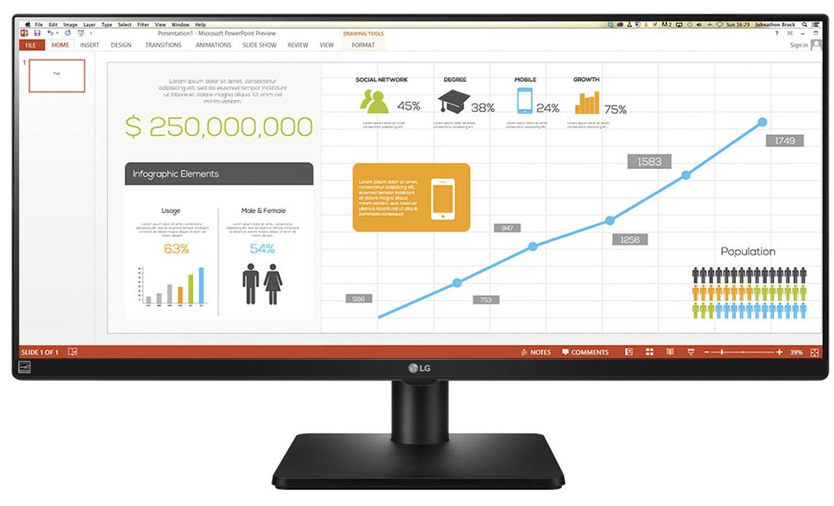 LG Flatron 34UB67-B монитор34UB67-B.ARUZБизнес монитор нового поколения LG 34UB67-B UltraWide формата 21:9 Эффективная многозадачность в формате 21:9: Один 34 монитор формата 21:9 предлагает больше рабочего пространства, чем два установленных рядом монитора. Для макисмально эффективной работы с большим экраном LG разработал специализированное ПО 4-Screen Split, которое с помощью одного клика разделит экран на несколько сегментов (до четырех) для более удобного расположения окон. Работа с двумя источниками изображения: Благодаря технологии Dual Link-up два разных устройства могут выводить изображение в размере 1:1 на один монитор в параллельном режиме. Более того, благодаря технологии Dual Controller при подключении двух ПК, работающих в одной сети, к монитору серии UB67 возможно не только управлять обоими ПК с помощью одной мыши и клавиатуры, но и перемещать контент между подключенными компьютерами без использования внешних устройств хранения данных. Эргономичный...