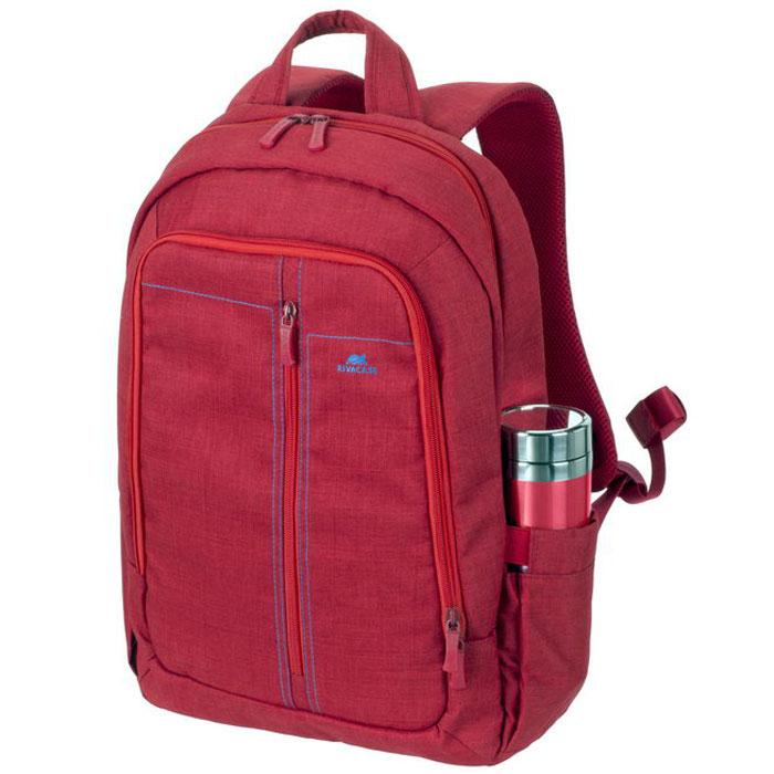 Riva 7560 рюкзак для ноутбука 15,6, RedRivaCase 7560 redСтильный городской рюкзак для ноутбука Riva 7560 изготовлен из высококачественной водоотталкивающей ткани. Легкая конструкция с утолщенными стенками создана для защиты ноутбука от случайных ударов и царапин, а также от пыли и влаги. Основное отделение с вертикальной загрузкой имеет мягкие стенки и ремень для надежной фиксации ноутбука до 15.6. Рюкзак оборудован также внутренним отделением для планшета до 10.1. Внешний передний карман на молнии для хранения аксессуаров также имеет панель-органайзер для визитных карт, флэш-накопителей, смартфона, а два боковых кармана служат для размещения емкостей с водой. Двойная застежка молния обеспечивает удобный доступ к устройству. Мягкая ручка для переноски и наплечные ремни со смягчающими подкладками помогут чувствовать себя комфортно в самом долгом путешествии. Специальная система крепления ремешков на липучке закрепляет их и создает дополнительное удобство.