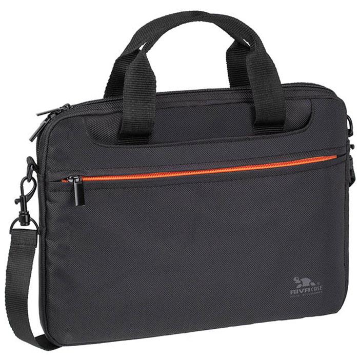 Riva 8073 сумка для ноутбука 12.1, BlackRivaCase 8073 blackСумка Riva 8073 для ноутбука до 12.1 выполнена из плотного синтетического материала и имеет утолщенные стенки для лучшей защиты ноутбука от случайных ударов и царапин, а также от пыли и влаги. Помимо основного отсека она оснащена двумя дополнительными карманами, в которых без труда разместятся документы, аксессуары и другие небольшие гаджеты. Двойная застежка молния предназначена для удобного доступа к ноутбуку. Ручки убираются во внешние отделения с двух сторон, что придает сумке более компактный вид. В комплект входит регулируемый, съемный плечевой ремень.