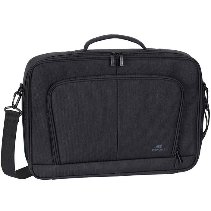 Riva 8451 сумка для ноутбука 17.3, BlackRivaCase 8451 blackСумка Riva 8451 для ноутбука до 17.3 выполнена из плотного синтетического материала и имеет утолщенные стенки для лучшей защиты ноутбука от случайных ударов и царапин, а также от пыли и влаги. Дополнительно имеет усиленную каркасную основу для лучшей защиты ноутбука от случайных ударов. Полностью открывающееся отделение, оборудованное прорезиненной лентой обеспечивает надежную фиксацию ноутбука. Внутреннее отделение служит для переноски и хранения планшетов до 10.1. Во внешнее переднее отделение на молнии вы можете поместить аксессуары, зарядное устройство, а также визитные карты, авторучки и смартфон. На задней панели имеется карман на молнии для крепления сумки к ручке чемодана. Уплотненная, мягкая ручка и регулируемый по длине плечевой ремень позволяют чувствовать себя комфортно.