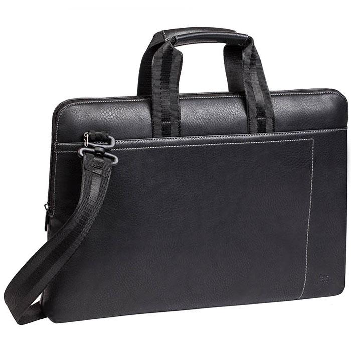 Riva 8930 сумка для ноутбука 15,6, BlackRivaCase 8930 (PU) blackСумка Riva 8930 для ноутбука до 15.6 выполнена из плотной искусственной кожи и имеет утолщенные стенки для защиты ноутбука от случайных ударов и царапин, а также от пыли и влаги. Два дополнительных внутренних отделения помогут удобно разместить все необходимые аксессуары, планшет до 10.1 и документы. Также имеется внутренний карман на молнии для бумажника, паспорта. Контрастная, светлая подкладка облегчает поиск необходимого гаджета. Ручки из оригинальной, цельной стропы закреплены через всю внутреннюю поверхность сумки, что значительно усиливает конструкцию сумки. Регулируемый, съемный плечевой ремень служит для удобства переноски.