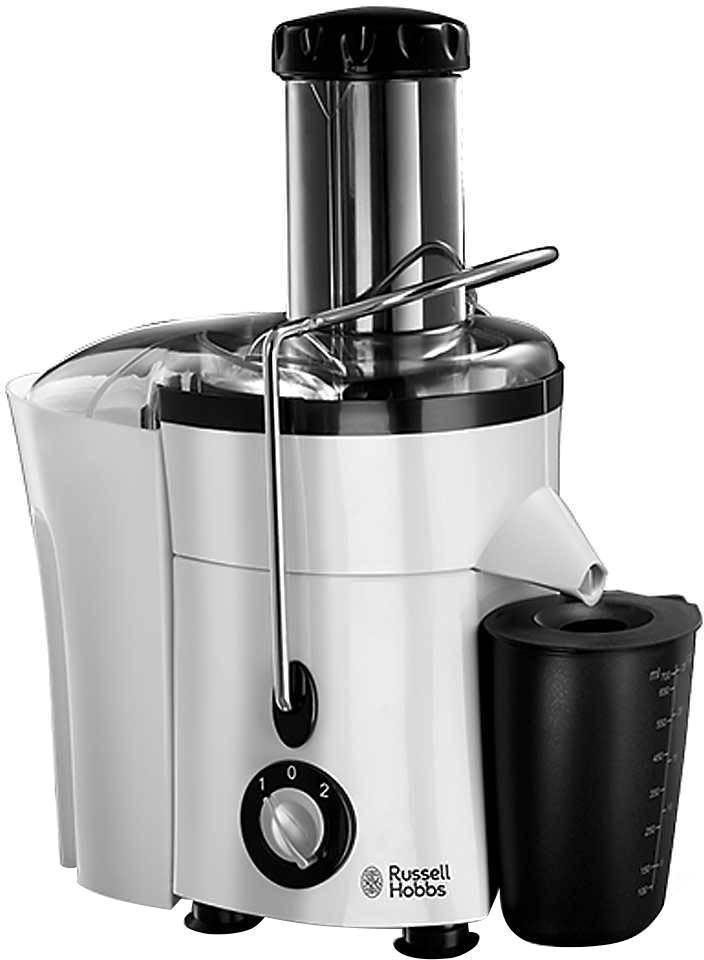 Russell Hobbs 20365-56 Aura соковыжималка20365-56Мощность 650 Вт; 2 скорости для мягких и твердых фруктов; широкое погружное жерло 75 мм; контейнер для жмыха 2 литра, 750 мл – для сока; съемные ножи из нержавеющей стали; система запирания