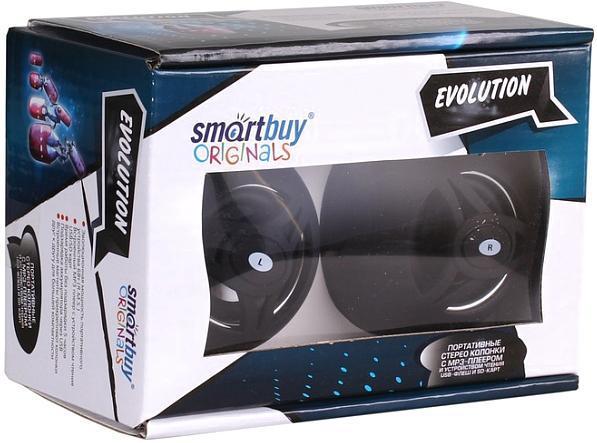 SmartBuy Evolution SBS-1800, Black портативные колонкиSBS-1800Портативные стереоколонки c MP3-плеером и устройством чтения USB-флеш и SD-карт.Эволюционная мощность портативного устройства 6 Вт (R.M.S.).Подзарядка аккумулятора через USB.Встроенные магниты прикрепляют колонки друг к другу для большей компактности.