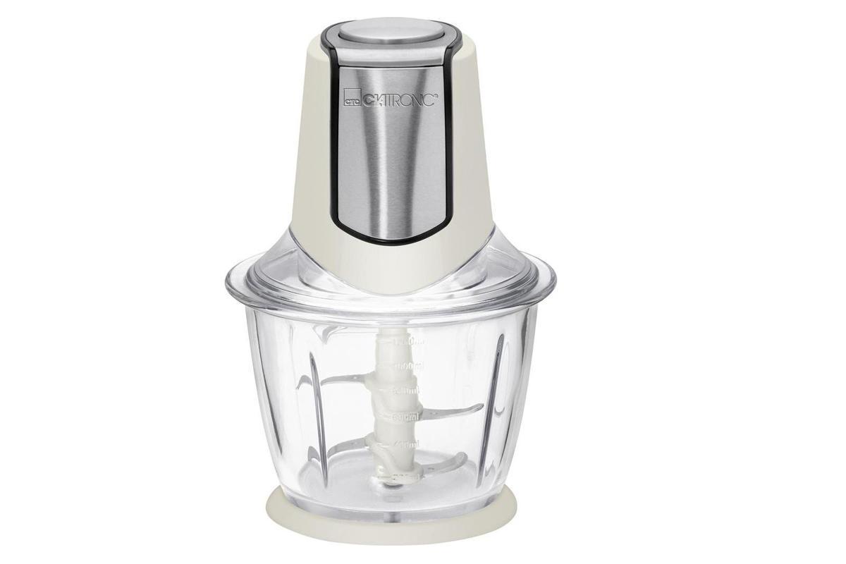 Clatronic MZ 3560, Cream измельчительMZ 3560 creme-inoxУниверсальный измельчитель 2 в 1 – не только быстрая и качественная нарезка фруктов, овощей и зелени, но и колка льда.Чаша изготовлена из стекла, объем 1.2 л. Чаша пригодна для СВЧ.