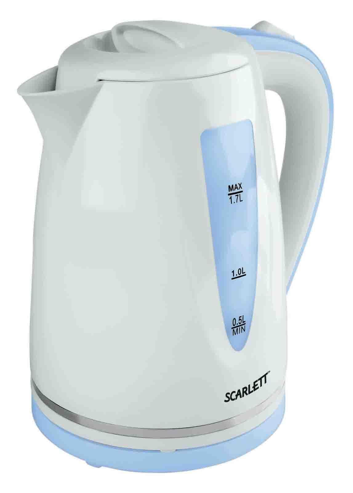 Scarlett SC-EK18P06, White Blue электрический чайникSC-EK18P06Scarlett SC-EK18P06 - надійний електричний чайник від відомого виробника. Виготовлено його із перевіреного термостійкого пластику, що забезпечуватиме практичність і безпечність використання чайника весь термін його використання. Чайник має об'єм у 1.7 літра, що дозволить комфортно чаювати усією родиною. А закритий нагрівальний елемент потужністю 2200 Вт швидко закип'ятить навіть повний чайник. Чайник встановлюється на підставку у будь-якому положенні та автоматично вимикається при закипанні. Scarlett SC-EK18P06 - зручний електрочайник для дому і офісу.