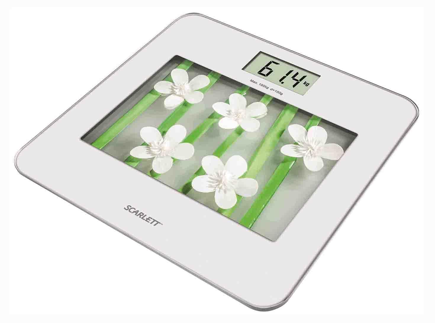 Scarlett SC-BS33E002, White Flowers весы напольные электронныеSC-BS33E002