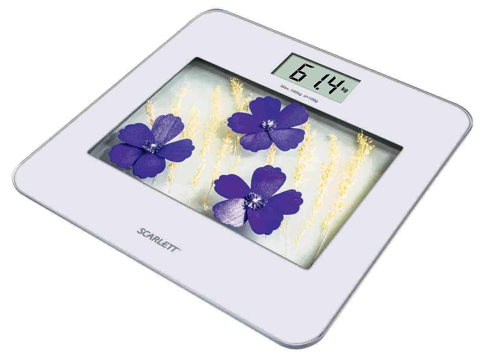 Scarlett SC-BS33E002, Violet Flowers весы напольные электронныеSC-BS33E002Напольные весы Scarlett SC-BS33E002 изготовлены из ударопрочного стекла и оформлены в сдержанном стиле. Весы имеют стандартную точность измерения, равную 100 грамм. Устройство измеряет массу тела в килограммах и работает от стандартных батареек ААА (4 шт). Электронный дисплей отображает большие цифры, которые можно будет увидеть с высоты человеческого роста. Также данная модель имеет прорезиненные ножки, для большей устойчивости.