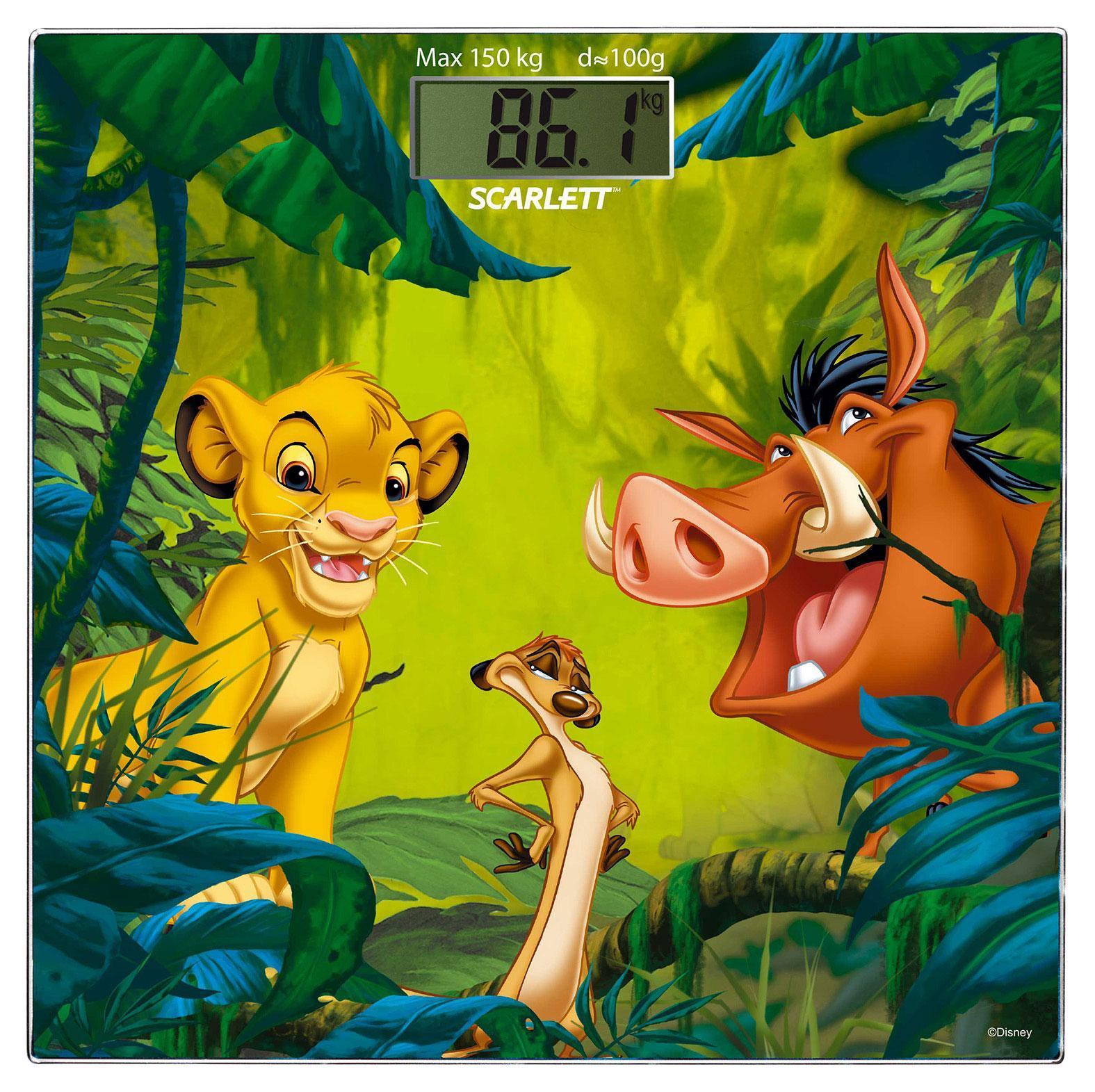 Scarlett SC-BSD33E894 Lion King весы напольные электронныеSC-BSD33E894Напольные весы Scarlett SC-BSD33E894 изготовлены из ударопрочного стекла и оформлены в сдержанном стиле. Весы имеют стандартную точность измерения, равную 100 грамм. Устройство измеряет массу тела в килограммах и работает от батарейки типа CR2032 (1 шт). Электронный дисплей отображает большие цифры, которые можно будет увидеть с высоты человеческого роста. Также данная модель имеет прорезиненные ножки, для большей устойчивости.