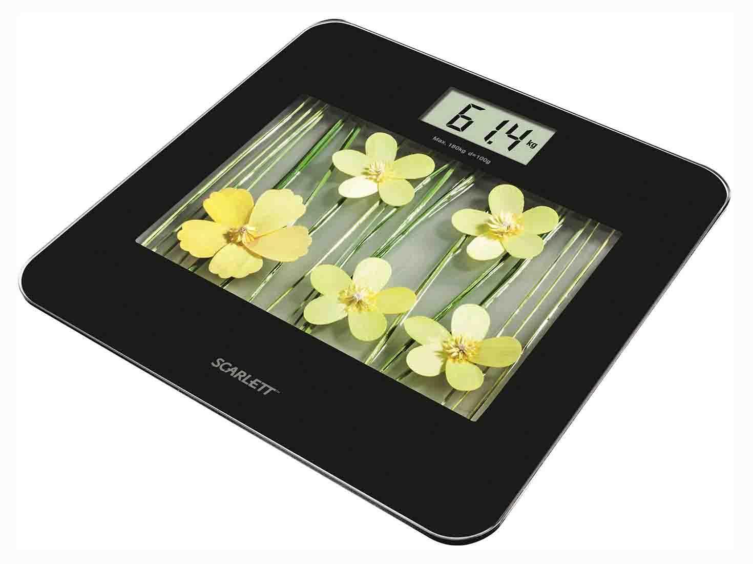 Scarlett SC-BS33E002 Yellow Flowers весы напольные электронныеSC-BS33E002