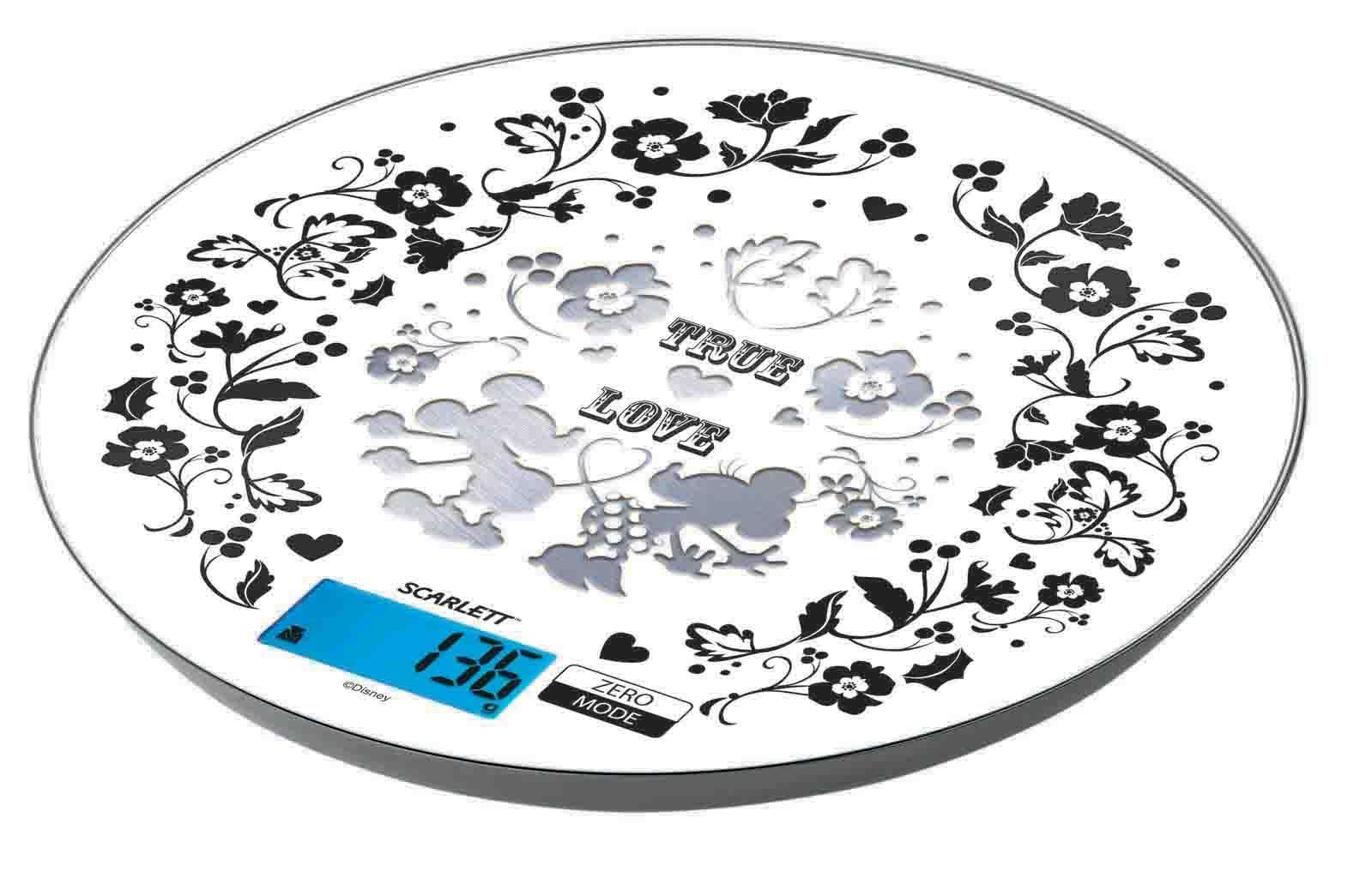 Scarlett SC-KSD57P03 весы кухонныеSC-KSD57P03Scarlett SC-KSD57P03 - это электронные кухонные весы, которые имеют необычное оформление в стиле Disney. На данной модели можно взвешивать до 5 кг различных продуктов. Шаг измерения - 1 грамм. Элегантный, современный дизайн прибора отлично дополнит современную кухню, не заняв при этом много места.