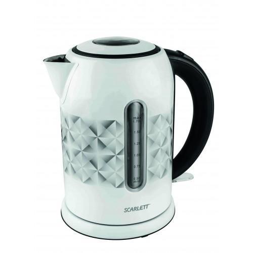 Scarlett SC-EK21S03, White электрический чайникSC-EK21S03Электрочайник Scarlett SC-EK21S03 — оригинальная модель в современном дизайне, сочетающемся с оформлением интерьера кухни в стиле хай-тек. Интересная особенность — микролифт крышки, позволяющий поднимать ее одним касанием, существенно облегчая доступ к внутреннему пространству чайника для наполнения и проведения обслуживания. Устройство обладает превосходной надежностью, обусловленной применением высококачественной нержавеющей стали, устойчивой к температурным воздействиям, в изготовлении корпуса и нагревателя скрытого типа. Система безопасности автоматически размыкает электрическую цепь при перегреве либо недостаточном наполнении внутренней емкости.