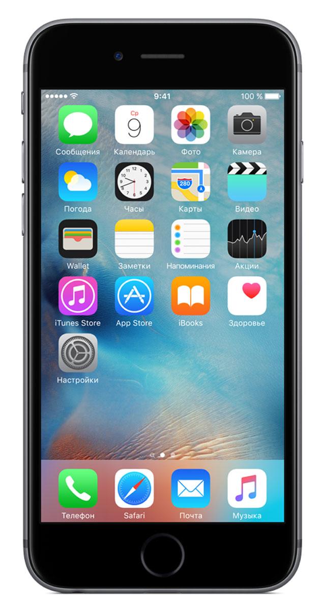 Apple iPhone 6s 128GB, GreyMKQT2RU/AApple iPhone 6s - смартфон, едва начав пользоваться которым, вы сразу почувствуйте, насколько все изменилось к лучшему. Технология 3D Touch открывает потрясающие новые возможности - достаточно одного нажатия. А функция Live Photos позволяет буквально оживить ваши воспоминания. И это только начало. Присмотритесь к iPhone 6s внимательнее, и вы увидите инновации на всех уровнях. Новое поколение Multi-Touch С появлением iPhone мир узнал о технологии Multi-Touch, которая навсегда изменила способ взаимодействия с устройствами. Технология 3D Touch открывает совершенно новые возможности. Она позволяет различать силу нажатия на дисплей, что делает многие функции быстрее и удобнее. Кроме того, телефон реагирует на каждый жест лёгким тактильным откликом благодаря использованию нового привода Taptic Engine. 12-мегапиксельные фотографии. Видео 4К. Live Photos 12-мегапиксельная камера iSight делает чёткие и детальные снимки, а также позволяет снимать...