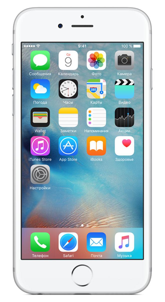 Apple iPhone 6s 16GB, SilverMKQK2RU/AApple iPhone 6s - смартфон, едва начав пользоваться которым, вы сразу почувствуйте, насколько все изменилось к лучшему. Технология 3D Touch открывает потрясающие новые возможности - достаточно одного нажатия. А функция Live Photos позволяет буквально оживить ваши воспоминания. И это только начало. Присмотритесь к iPhone 6s внимательнее, и вы увидите инновации на всех уровнях. Новое поколение Multi-Touch С появлением iPhone мир узнал о технологии Multi-Touch, которая навсегда изменила способ взаимодействия с устройствами. Технология 3D Touch открывает совершенно новые возможности. Она позволяет различать силу нажатия на дисплей, что делает многие функции быстрее и удобнее. Кроме того, телефон реагирует на каждый жест лёгким тактильным откликом благодаря использованию нового привода Taptic Engine. 12-мегапиксельные фотографии. Видео 4К. Live Photos 12-мегапиксельная камера iSight делает чёткие и детальные снимки, а также позволяет снимать...
