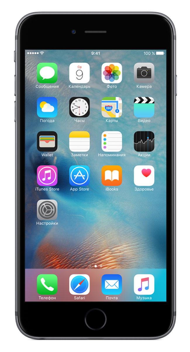 Apple iPhone 6s Plus 128GB, GreyMKUD2RU/AApple iPhone 6s Plus - смартфон, едва начав пользоваться которым, вы сразу почувствуете, насколько все изменилось к лучшему. Технология 3D Touch открывает потрясающие новые возможности - достаточно одного нажатия. А функция Live Photos позволяет буквально оживить ваши воспоминания. И это только начало. Присмотритесь к iPhone 6s Plus внимательнее, и вы увидите инновации на всех уровнях. Новое поколение Multi-Touch С появлением iPhone мир узнал о технологии Multi-Touch, которая навсегда изменила способ взаимодействия с устройствами. Технология 3D Touch открывает совершенно новые возможности. Она позволяет различать силу нажатия на дисплей, что делает многие функции быстрее и удобнее. Кроме того, телефон реагирует на каждый жест лёгким тактильным откликом благодаря использованию нового привода Taptic Engine. 12-мегапиксельные фотографии. Видео 4К. Live Photos 12-мегапиксельная камера iSight делает чёткие и детальные снимки, а также позволяет снимать...