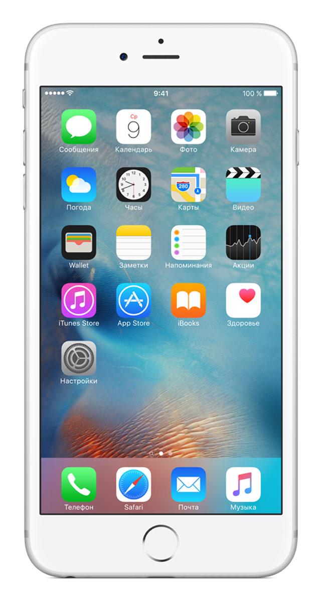 Apple iPhone 6s Plus 128GB, SilverMKUE2RU/AApple iPhone 6s Plus - смартфон, едва начав пользоваться которым, вы сразу почувствуете, насколько все изменилось к лучшему. Технология 3D Touch открывает потрясающие новые возможности - достаточно одного нажатия. А функция Live Photos позволяет буквально оживить ваши воспоминания. И это только начало. Присмотритесь к iPhone 6s Plus внимательнее, и вы увидите инновации на всех уровнях. Новое поколение Multi-Touch С появлением iPhone мир узнал о технологии Multi-Touch, которая навсегда изменила способ взаимодействия с устройствами. Технология 3D Touch открывает совершенно новые возможности. Она позволяет различать силу нажатия на дисплей, что делает многие функции быстрее и удобнее. Кроме того, телефон реагирует на каждый жест лёгким тактильным откликом благодаря использованию нового привода Taptic Engine. 12-мегапиксельные фотографии. Видео 4К. Live Photos 12-мегапиксельная камера iSight делает чёткие и детальные снимки, а также позволяет...