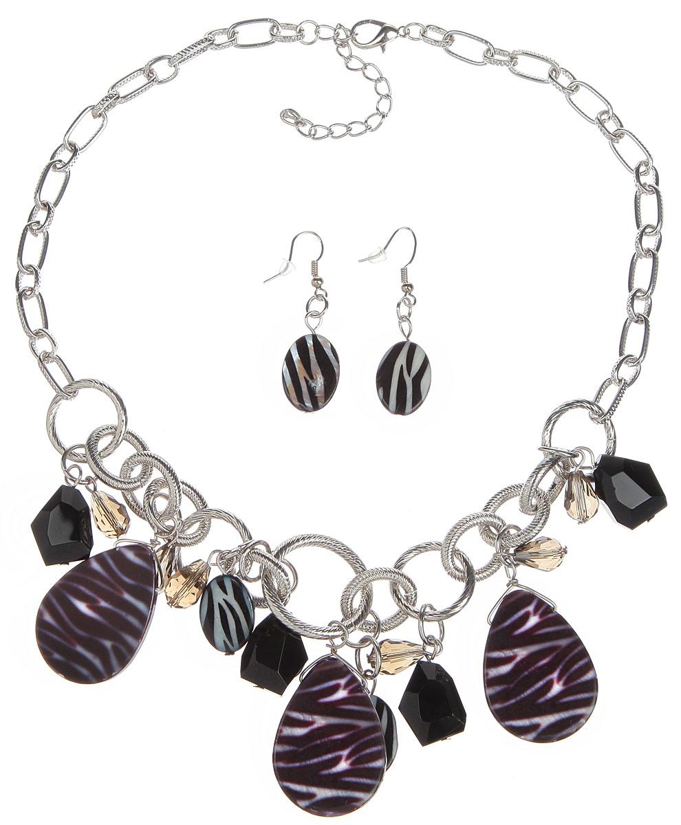 Комплект украшений Avgad: колье, серьги, цвет: черный, серый. WS1091RDRED. Авторская работа