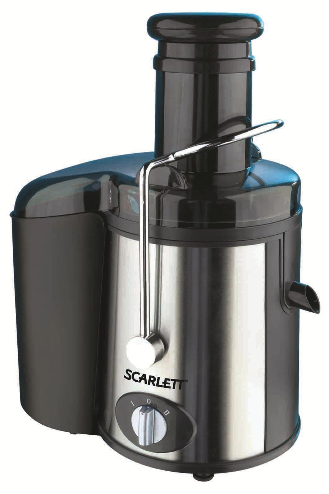 Scarlett SC-013 соковыжималкаSC-013Scarlett SC-013 – универсальная соковыжималка с сильными чертами характера, которые по достоинству оценит каждая домохозяйка, привыкшая выбирать только качественную и практичную бытовую технику для своего дома! Мощность Scarlett SC-013 высокая – 1000 Вт, скоростных режимов - 2. И несмотря на это, ее вес составляет всего лишь 4 кг. А это значит, что данная модель относится к легким и компактным, особенно, если учесть и то, что ее корпус изготовлен из нержавеющей стали. Из аналогичного материала изготовлен и центрифужный механизм соковыжималки, а точнее его сетка – фильтр, которая без труда снимается и моется под простой водой. В целях приблизить условия работы со Scarlett SC-013 к самым безопасным и удобным, производитель внедрил в эту модель новейшую систему автоматической подачи сока в стакан, мгновенный выброс мякоти, а также функцию защиты от случайного включения. В комплект к Scarlett SC-013 съемный резервуар для подачи сока и автоматического выброса мякоти, а также...