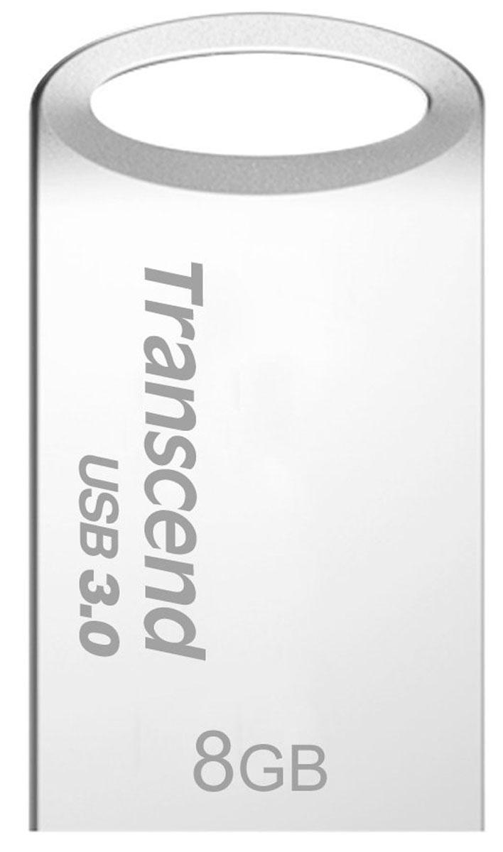 Transcend JetFlash 710 8GB, Silver USB-накопительTS8GJF710SВысокоскоростные флэш-накопители JetFlash 710, оснащенные интерфейсом SuperSpeed USB 3.0, соответствуют всем требованиям новейших компьютерных систем последнего поколения. Миниатюрный металлический корпус JetFlash 710 практически не выступает из разъема USB, что позволяет использовать их с комфортом даже с наиболее компактными портативными устройствами. Эргономический дизайн максимально упрощает и облегчает повседневное использование этих флэш-накопителей. Кроме того, при подключении к автомобильной магнитоле с USB-коннектором, они не выступают из панели приборов и не блокируют доступ к другим органам управления. Сделайте вашу поездку более яркой и запоминающейся с флэш-накопителями JetFlash 710.