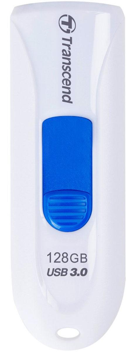 Transcend JetFlash 790 128GB, White Blue USB-накопительTS128GJF790WФлеш-накопитель Transcend JetFlash 790 оснащен выдвижным разъемом USB, что помогает сохранить данные от повреждения во время транспортировки. Просто нажмите цветной ползунок, чтобы выдвинуть разъем . JetFlash 790 поддерживает высокоскоростной интерфейс USB 3.0 и имеет большую емкость, что крайне удобно для хранения информации. Флешка с ярким и стильным дизайном привлечет внимание, а благодаря компактным размерам она будет с вами везде, куда бы вы не отправились! Пропускная способность интерфейса: 5000 Мбит/сек Индикаторы: питание, активность Совместимость: Windows 2000 / ME / XP/ Vista / 7 / 8; Mac OS 9.0, Linux Kernel 2.4.2