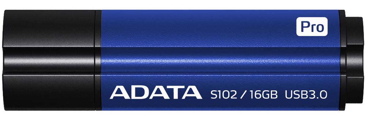 ADATA S102 Pro 16GB, Blue USB-накопительAS102P-16G-RBLНакопитель ADATA S102 Pro имеет изящную текстуру корпуса из алюминиевого сплава и использует самый современный интерфейс передачи данных USB 3.0 со скоростью чтения до 200 МБ в секунду и скоростью записи до 120 МБ в секунду. Алюминиевый корпус цвета титан и синий титан имеет изящную текстуру и поразительный внешний вид, дополняющий таинственность и достоинство вашего личного стиля. На время использования накопителя колпачок можно надеть на заднюю часть корпуса, чтобы случайно не потерять его. Накопитель ADATA S102 Pro выпускается в исполнениях емкостью от 8 до 256 ГБ, обеспечивая объем для хранения данных профессионального уровня и великолепное преимущество высокоскоростной передачи данных.