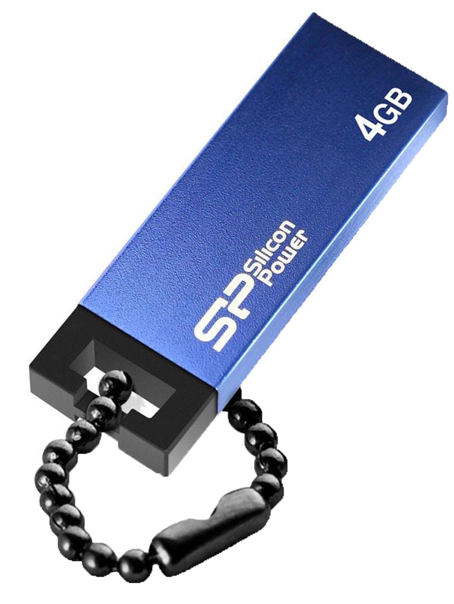 Silicon Power Touch 835 4GB, Blue USB-накопительSP004GBUF2835V1BSilicon Power Touch 835 отличается стильным металлическим корпусом и весом всего 4,5 грамм. Для создания высококачественного покрытия и защиты корпуса от царапин SP использовала технологию пескоструйной обработки металла. Использование технологии COB (Chip On Board) обеспечивает ударопрочность, пыле- и водонепроницаемость накопителю.