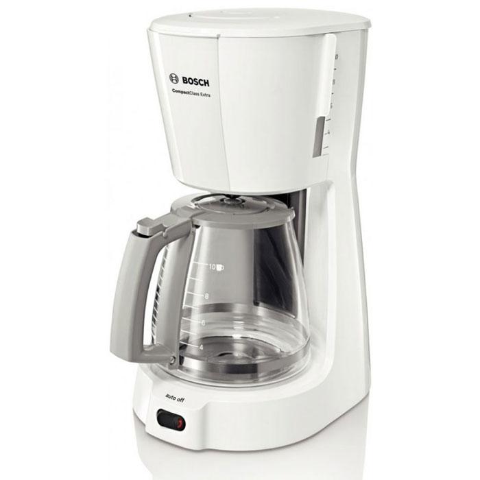 Bosch TKA 3A031, White кофеваркаTKA3A031Кофеварка Bosch TKA 3A031 подойдет практически к любой кухне, а большая колба для кофе обеспечит вас ароматным напитком на целый день. Данная модель сочетает в себе профессиональное качество и современный дизайн, удобна и практична в использовании. Есть возможность приготовления до десяти чашечек кофе за одно заваривание. Кофеварка снабжена резервуаром для воды объемом 1,25 литра. Удобство в использовании также обеспечивается наличием противокапельной системы и индикацией включения/выключения прибора. Материал корпуса : пластик Отсек для хранения шнура