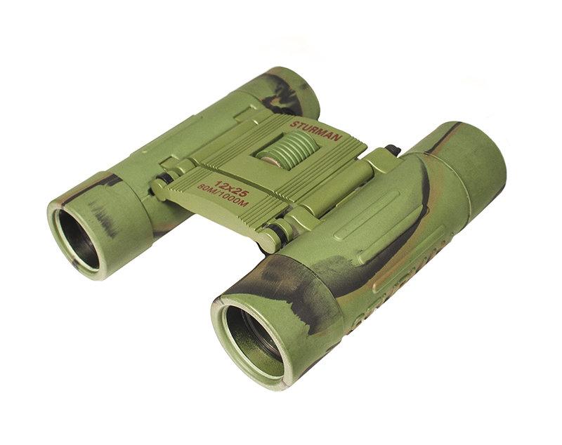 Sturman 12x25 бинокль, цвет: зелёный1416Самый простой, компактный и недорогой, но с большим увеличением бинокль Sturman. Оптика из оптического стекла с просветляющим покрытием. Металлический обрезиненный корпус.