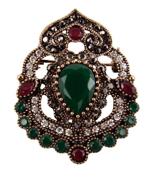 """Брошь """"Бергама"""" в византийском стиле. Бижутерный сплав, австрийские кристаллы, искусственные камни. Западная Европа, конец XX века"""