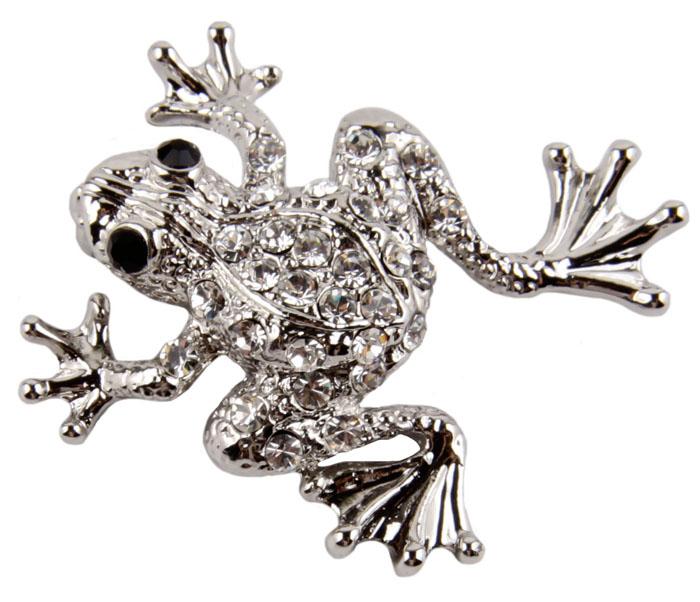 Брошь Лягушонок. Бижутерный сплав, австрийские кристаллы. Западная Европа, конец XX векаОС23220