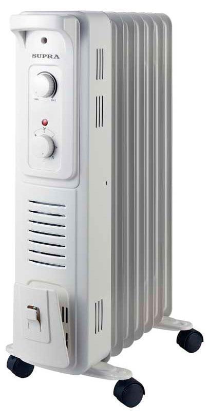 Supra ORS-07F-SN, White масляный радиаторORS-07F-SN whiteрадиатор маслонаполненный, с вентилятором 400 Вт, 7 секций, 1.9 кВт, регулируемый термостат, уровни мощности 600/900/1500, защита от перегрева, индицация, отсек для хранения шнура