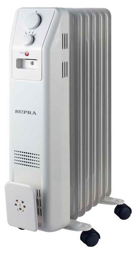 Supra ORS-07-SN, White масляный радиаторORS-07-SN whiteрадиатор маслонаполненный, 7 секций, 1.5 кВт, регулируемый термостат, уровни мощности 600/900/1500, защита от перегрева, индицация, отсек для хранения шнура