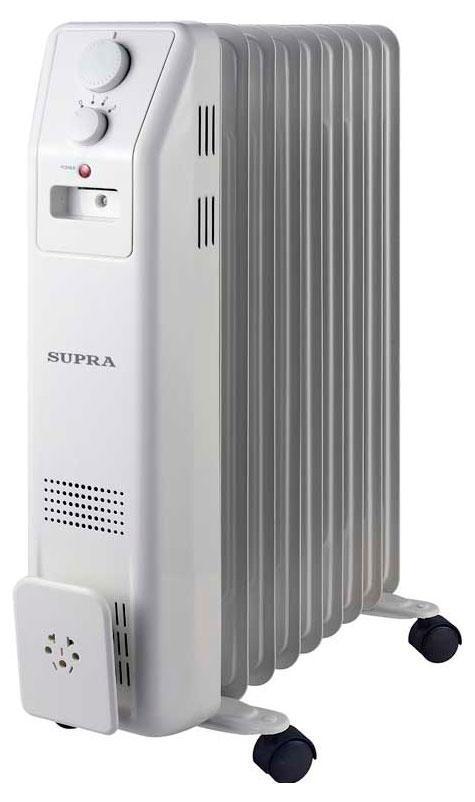 Supra ORS-09-SN, White масляный радиаторORS-09-SN whiteрадиатор маслонаполненный, 9 секций, 2 кВт, регулируемый термостат, уровни мощности 800/1200/2000, защита от перегрева, индицация, отсек для хранения шнура, до 25 кв м