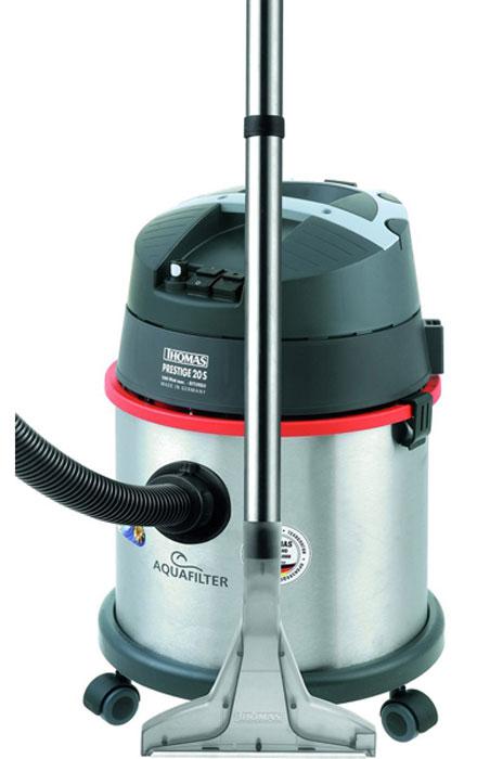 Thomas 788103 Prestige 20S Aquafilter пылесосPrestige 20S Aquafilter (788103)Пылесос Thomas Prestige 20S Aquafilter с водным фильтром предназначен для сухой и влажной уборки. Модель оснащена двадцатилитровой емкостью. Для сухой уборки используется резервуар, объемом 4.7 л, который наполняется водой. Максимально гигиеничная уборка - собранная грязь помещается в воду, по окончанию работы нужно лишь вылить воду из контейнера. Пыльца, бактерии и клещи остаются в воде. Мешки- пылесборники вам больше не пригодятся. Естественная фильтрация воды удерживает мельчайшие частицы и одновременно увлажняет выходящий воздух. Для влажной уборки рекомендуется использовать специальный шампунь ThomasProtex (входит в комплект). Моющий раствор подается через специальную оросительную насадку. Встроенный индикатор напомнит о необходимости очистки контейнера. Корпус пылесоса сделан из высококачественной нержавеющей стали, что делает его долговечным. Водяной фильтр с циклонной фильтрацией обеспечивает очистку воздуха на 99,998%. С помощью данной модели можно...