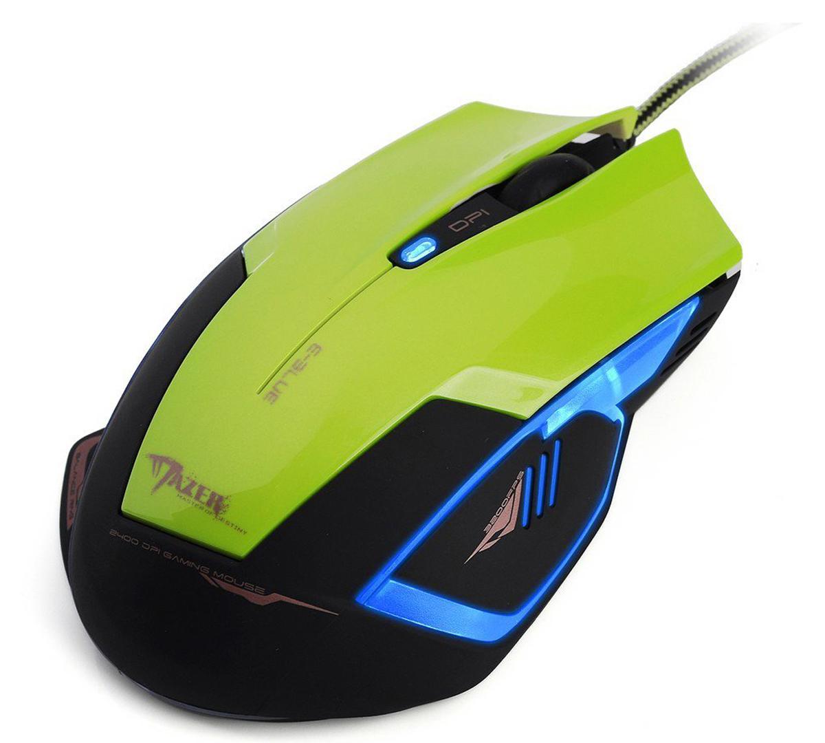 E-Blue EMS124 Mazer Type-R, Green игровая мышьEMS124GR(1)Компьютерная оптическая мышь E-Blue EMS124 Mazer Type-R - идеальный выбор для геймеров. Эргономичный дизайн устройства создан для максимально удобной работы правой рукой. Сверхчувствительный оптический сенсор Red Wave с настройками от 600 до 2400 dpi обеспечивает максимальную точность и быстроту отклика. Разрешение также можно выбрать при помощи полупрозрачной кнопки в центре устройства. Дополнительное удобство обеспечивают кнопки Backward и Forward, а также освещаемые зоны, которые при подключении устройства к компьютеру создадут неповторимую игровую атмосферу, особенно если вы играете в темноте.