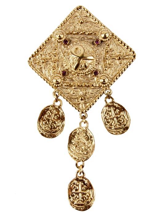 """Винтажная брошь в арабском стиле от Butler & Wilson """"Золото Востока"""" №7. Ювелирный сплав, кристаллы. Butler & Wilson, Великобритания,"""